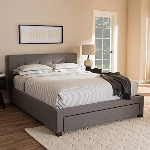 Baxton Studio Brandy Modern And Contemporary Upholstered Platform Bed With Storage Drawer Queen Furniture Decor