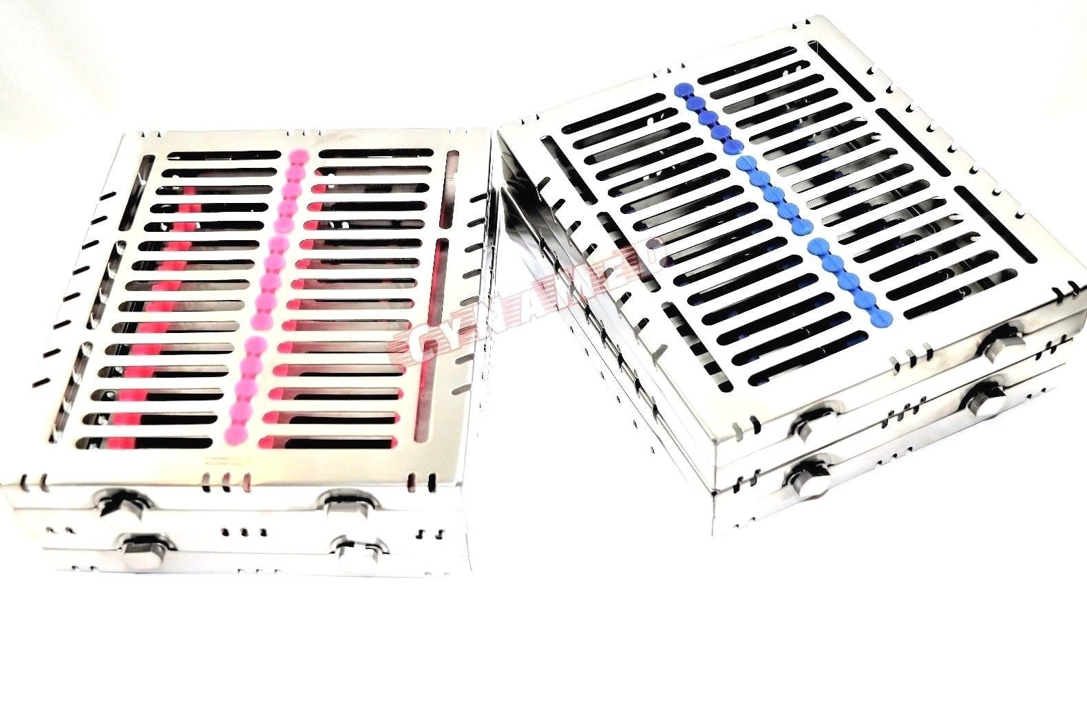 4 German Dental Autoclave Sterilization Cassette Tray for 15 Instruments 8.25X7.25X1.25'' Pink and Blue CYNAMED by CYNAMED (Image #2)