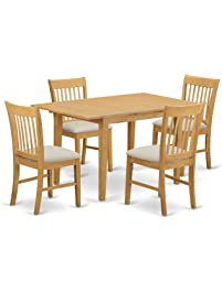 East West Furniture NOFK5 OAK C 5 Piece Dinette Table Set, Oak