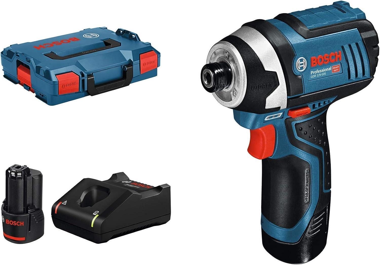 Bosch Professional GDR 12V-105 - Atornillador de impacto a batería (2 baterías x 2.0 Ah, 12V, 105 Nm, en L-BOXX)