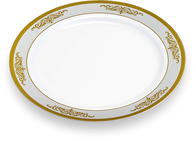 16 Sets 1 Combo Pack, 32 Bowls , White /& Gold Laura Stein Elegant Plates//Bowls