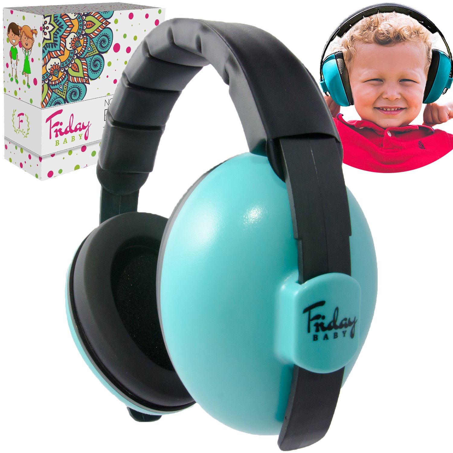 Newborn Baby Ear Protection FridayBaby | Comfortable Adjustable Noise Cancelling Headphones Babies, Toddlers, Boys, Girls | Baby Headphones Noise Reduction | Concerts Fireworks (0-2 Years)