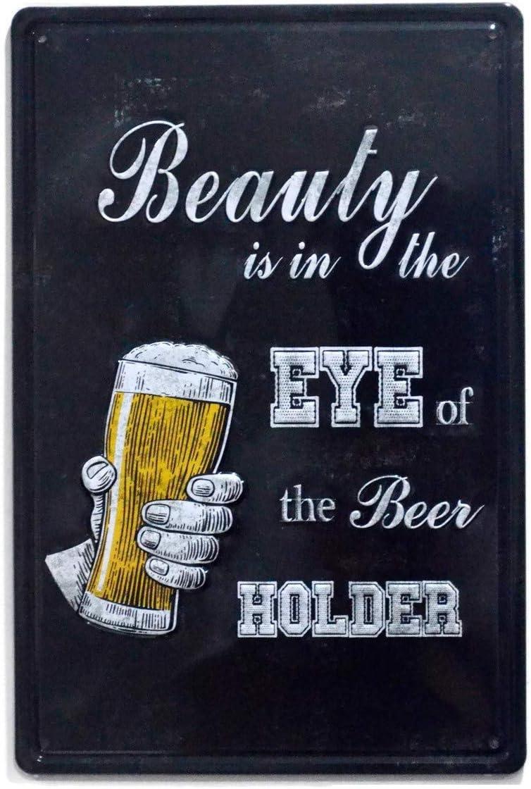 NaCraftTH Drink [ Eye of The Beer Holder ] Metal Iron Tin Sign Retro Vintage Wall Art Hanging Restaurant Bar Decor, 8