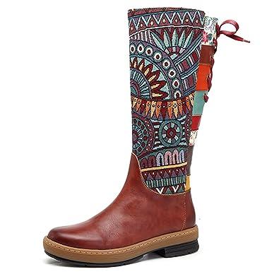 Bottes Femme, Socofy Bottines en Cuir A Talon Haut Boots 2017 Chaussures de Ville Hiver Printemps, Design Original à style ethnique - Rouge 2 - Taille 39 EU