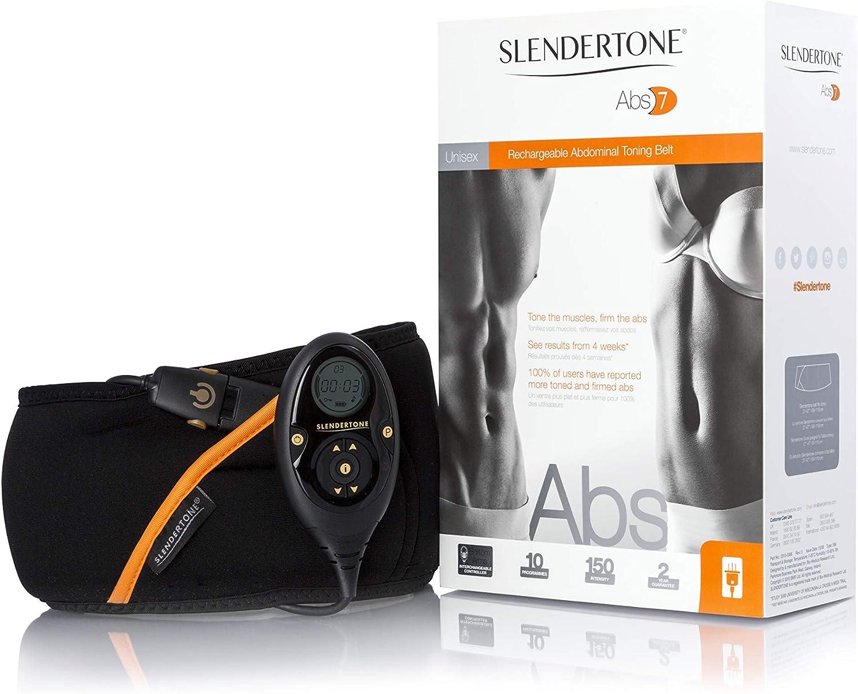 Slendertone Rechargeable Abs7 Cinturón de tonificación Abdominal, Unisex, Negro, 69-119 cm