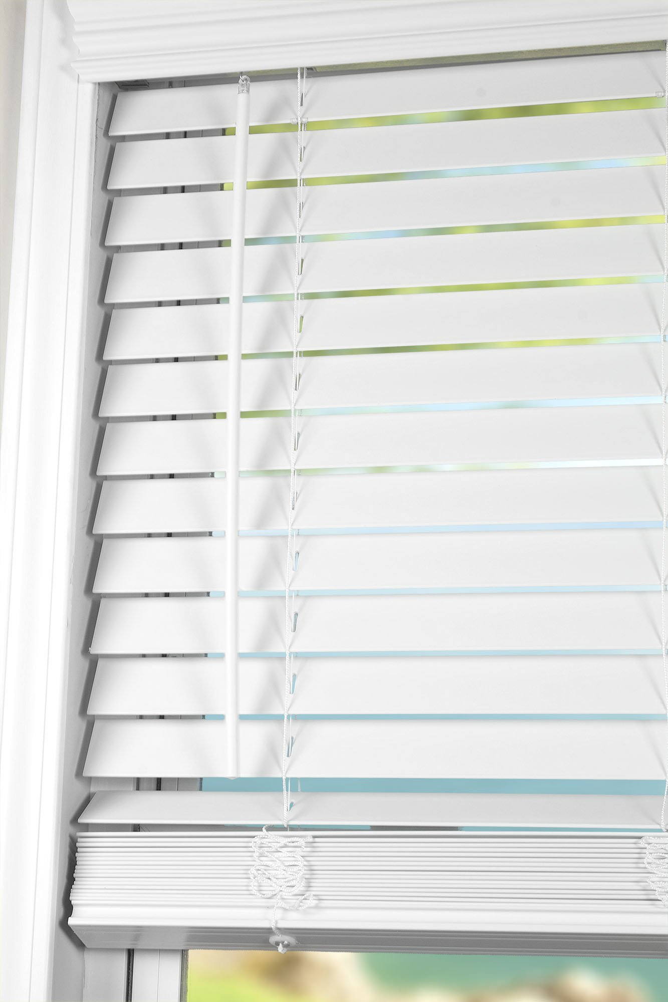 Arlo Blinds White Cordless 2 Inch Faux Wood Horizontal Blinds - Size: 34'' W x 60'' H, Cordless Lift and Wand Tilt by Arlo Blinds (Image #1)
