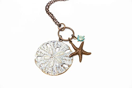 Amazon Com Patina White Brass Sand Dollar Starfish And Turtle Ocean Charm Necklace 22 Length Handmade