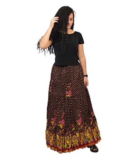 e4c9977dbd9b Image Unavailable. Image not available for. Color: Wonder Clothing Womens  Multicolor Zari Cotton Long Skirt