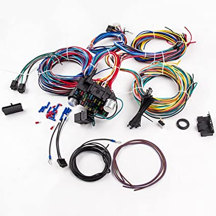 amazon com maxpeedingrods 21 circuit 17 fuses wiring harness for rh amazon com hot rod wiring harness kits hot rod wiring harness ls1