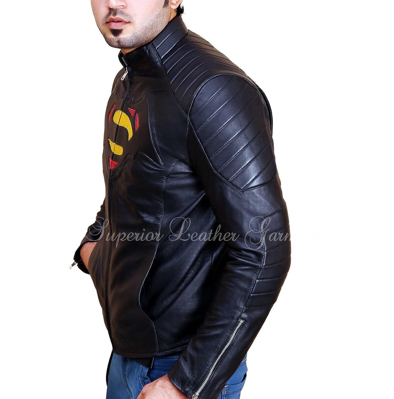 Dawn of Justice Batman vs Superman Logo Men's Black Genuine Leather Jacket