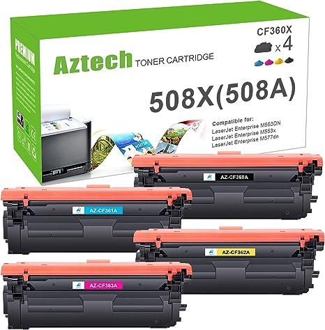 Aztech Kompatibel Toner Cartridge Replacement Für Hp 508x 508a Cf360x Cf361x Cf362x Cf363x Toner Für Hp Color Laserjet Enterprise M552dn M553dn M553n M553x Hp Color Laserjet Enterprise Mfp M557 Bürobedarf Schreibwaren