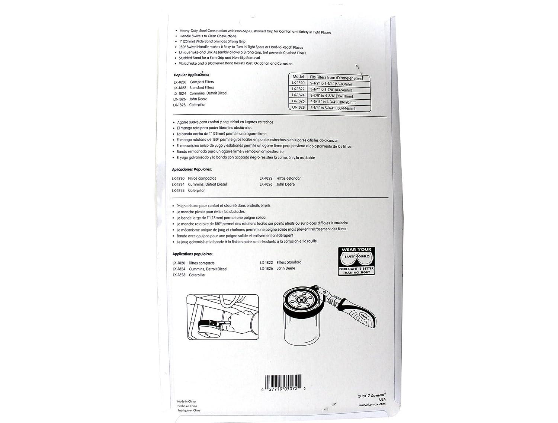 Heavy-Duty, Swivel Handle, 5-1//4 to 5-3//4 Lumax LX-1828 Black Oil Filter Wrench