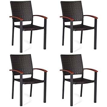 Amazon.com: oldzon - 4 sillas de comedor de ratán para patio ...