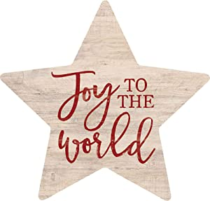 P. Graham Dunn Joy to The World Rosy Red 3.4 x 3.25 Pine Wood Christmas Small Shape Sign