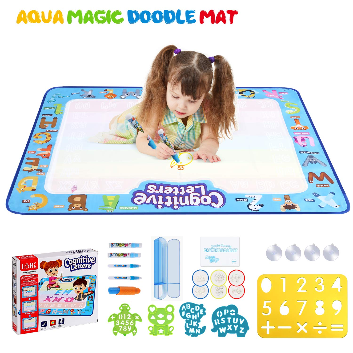 Wevon Aqua Magic Doodle Mat, Extra Large Coloring Water Drawing Mat, Mess Free Doodling Painting Educational Writing Mat, Gift for Toddlers Kids Boys Girls, Age 3 4 5 6 7 8 Year Old - 40 x 32 inch by Wevon