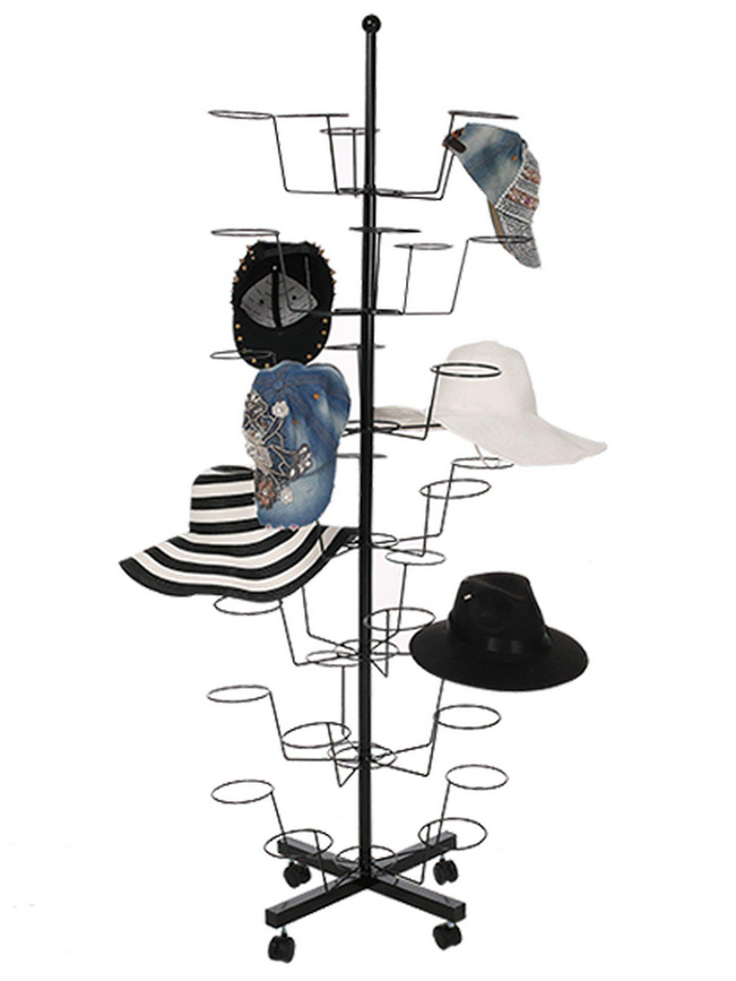 Ferty 7 Tier Display Hat Rack Rotating 35 Hat Adjustable Metal Floor Stand -Black[US STOCK]