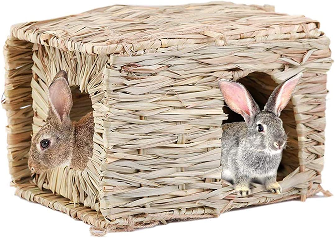 Hand-made Grass Hut Bunny House Bird Cubby Nest Cage for Rabbit, Guinea Pig, Gerbils, Hamster and Other Small Animals (Grass)