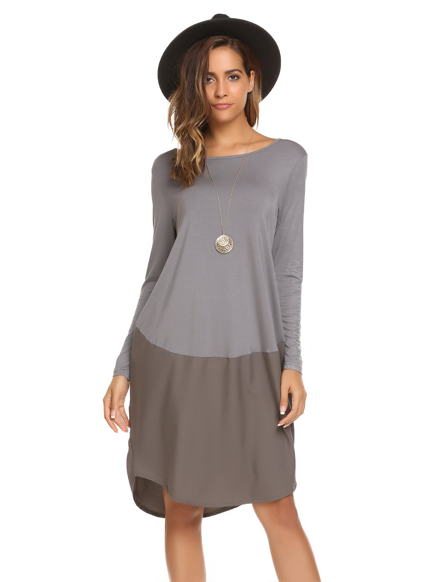 unibelle Ladies Wear to Work Casual Business Formal Dress Shirt (Grey, XX-Large)