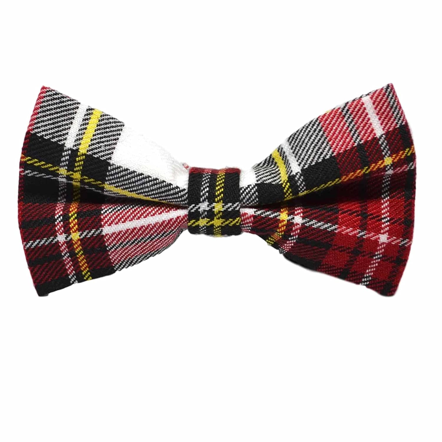 Check Plaid Traditional White /& Red Tartan Bow Tie