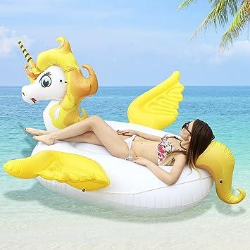 HooYL Inflable Flotador de Piscina, Hinchables Colchonetas Salvavidas Flotador Gigante Unicornio con Alas Juguete de Piscina para Adultos y Niños ...