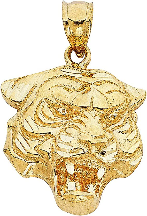 Nouveau 14k or Jaune Tigre pendentif