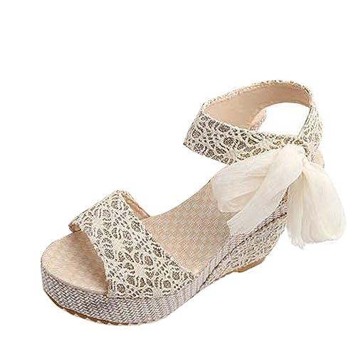 8e5639f04a87a4 Gaorui Women Lace Shoe Hollow Sandals Peep Toe Bowknot High Heel Platform  Wedge Pump Beige