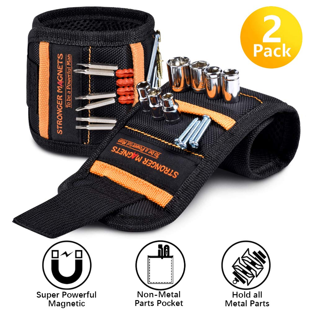 Magnetic Wristband Father's Day Gifts, Magnetic Tool Belt with 15 Super Strong Magnets, Wrist Tool Holder for Holding Screws, Nails, Drill Bits, Best Gift for Men, Dad, DIY Handyman, Husband, Him. (2)