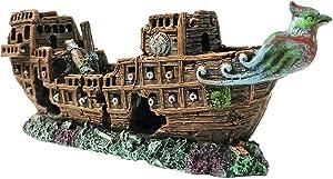SLOCME Aquarium Pirate Ship Decorations Fish Tank Ornaments - Resin Material Shipwreck Decorations, Eco-Friendly for Freshwater Saltwater Aquarium Sunken Ship Accessories