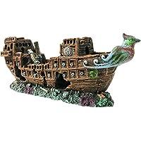 SLOME - Adornos para Acuario, diseño de Barco Pirata, Material de Resina, ecológicos