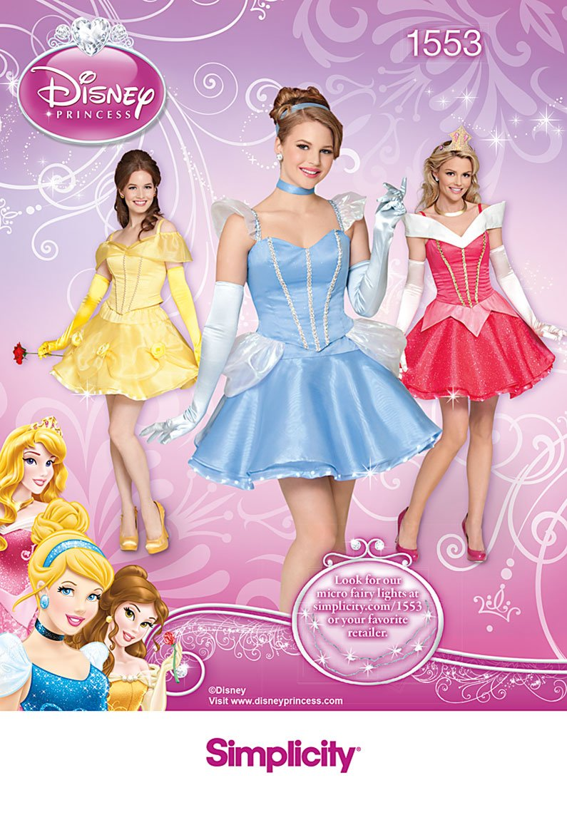 Simplicity Creative Patterns 1553 Disney Princess Costumes for Misses, HH (6-8-10-12)