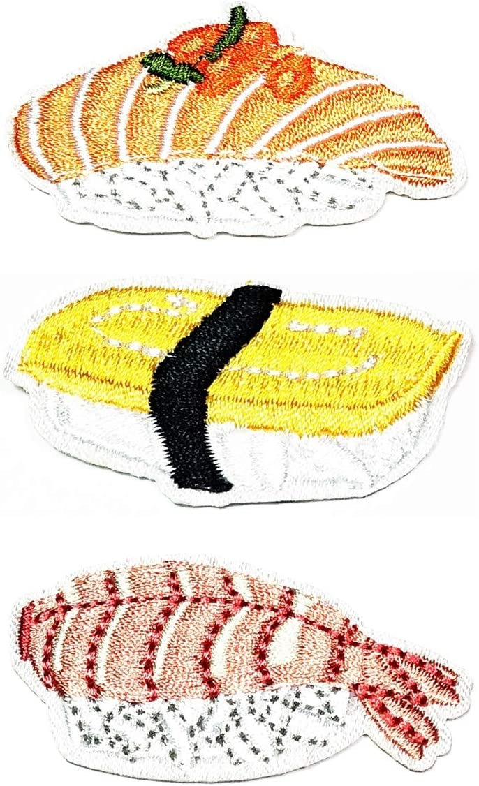 PARITA Set 3 Pcs. Cute Japanese Asian Food Salmon Rice Sushi Yummy Cartoon Sticker Iron on Patches sew on Patches Craft Embroidery Patch Motif Clothes Jackets Hats Backpacks