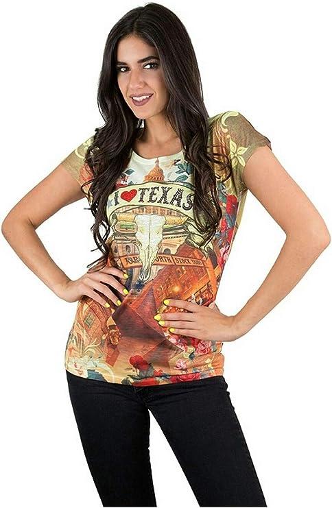 Sweet Gisele Texas Cowgirl - Camiseta para Mujer, diseño con Texto en 3D, Multicolor - Multi - Large: Amazon.es: Ropa y accesorios
