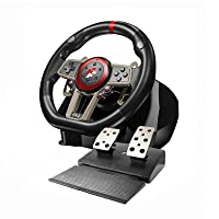 Game Racing Steering Wheel, 270/900 Degree PC Gaming Wheel with Universal USB Port and with 2-Pedal Pedals, Suitable for PC, PS3, PS4, Xbox One, Nintendo Switch