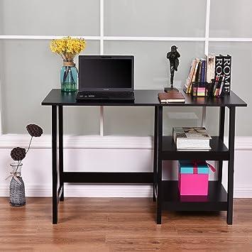 costway negro moderno caballete escritorio portátil y estantes de ...