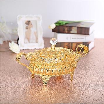 Oro Centro de mesa decorativo cuenco y plato (plato con tapa, bandejas de servir