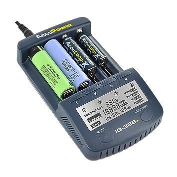 AccuPower IQ Serie – High End Cargador para 18650 con Pantalla, función de Descarga, Capacidad de medición, Sistemas de Seguridad