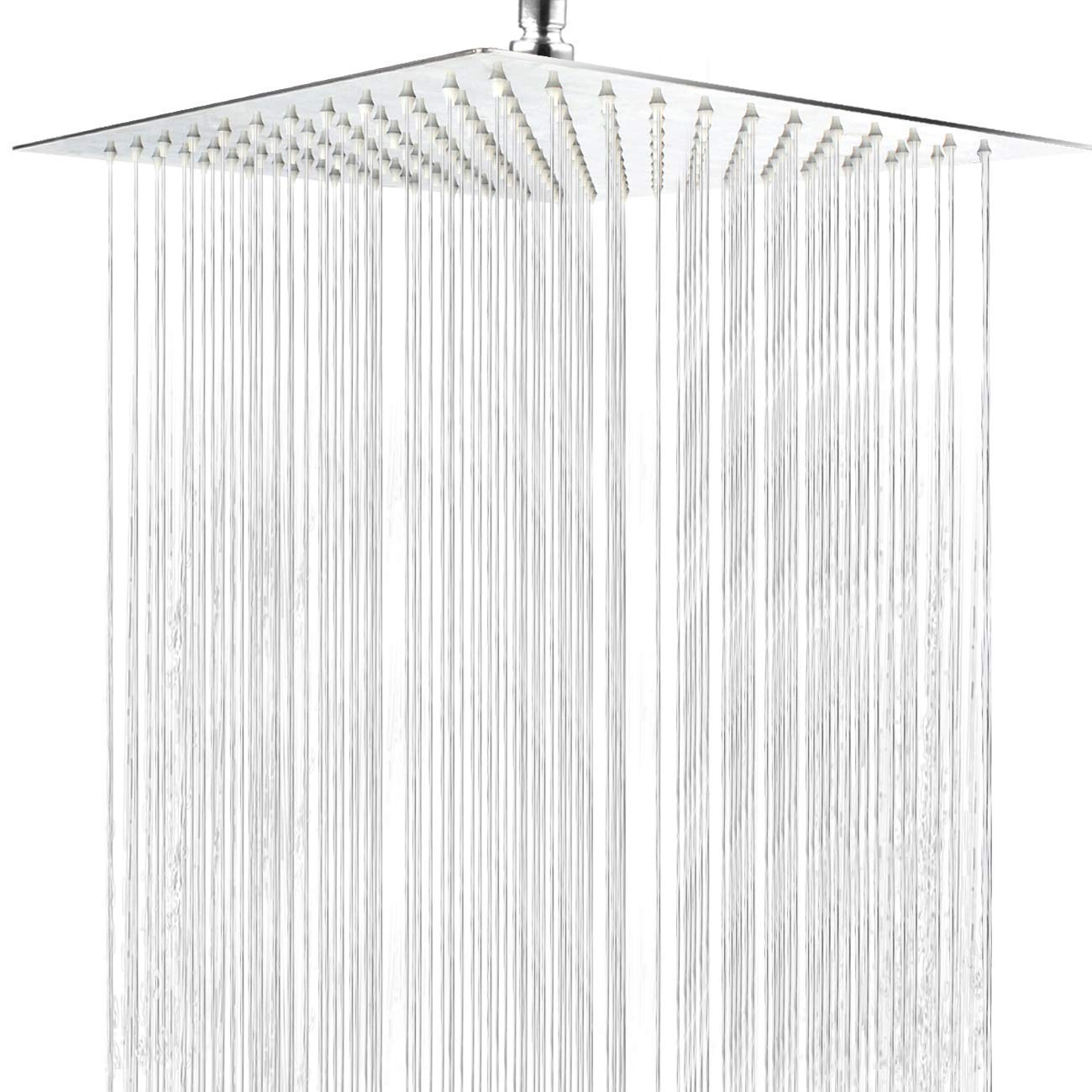 Shower Head,12 Inch Large Square Rainfall Showerhead Stainless Steel High Pressure With Polish Chrome Finish, Ultra Thin Waterfall Full Body Coverage with Silicone Nozzle