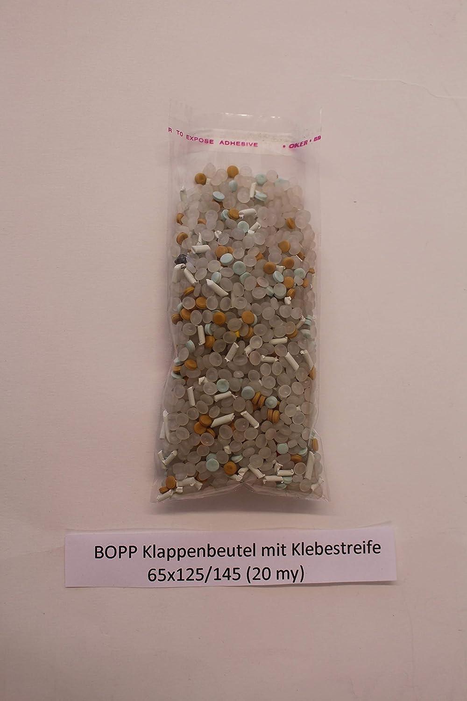 ARTPACK BOPP Klappenbeutel mit Klebestreifen transparent 65 x 125 mm auch 100 oder 300 St. 500 St/ück 20my PP plastik beutel T/ütchen
