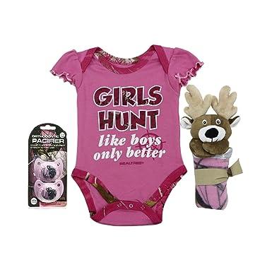 775c51eec Real Tree Baby Girl Pink Camo Girl's Hunt Like Boys Only Better Gift Set  Bundle (
