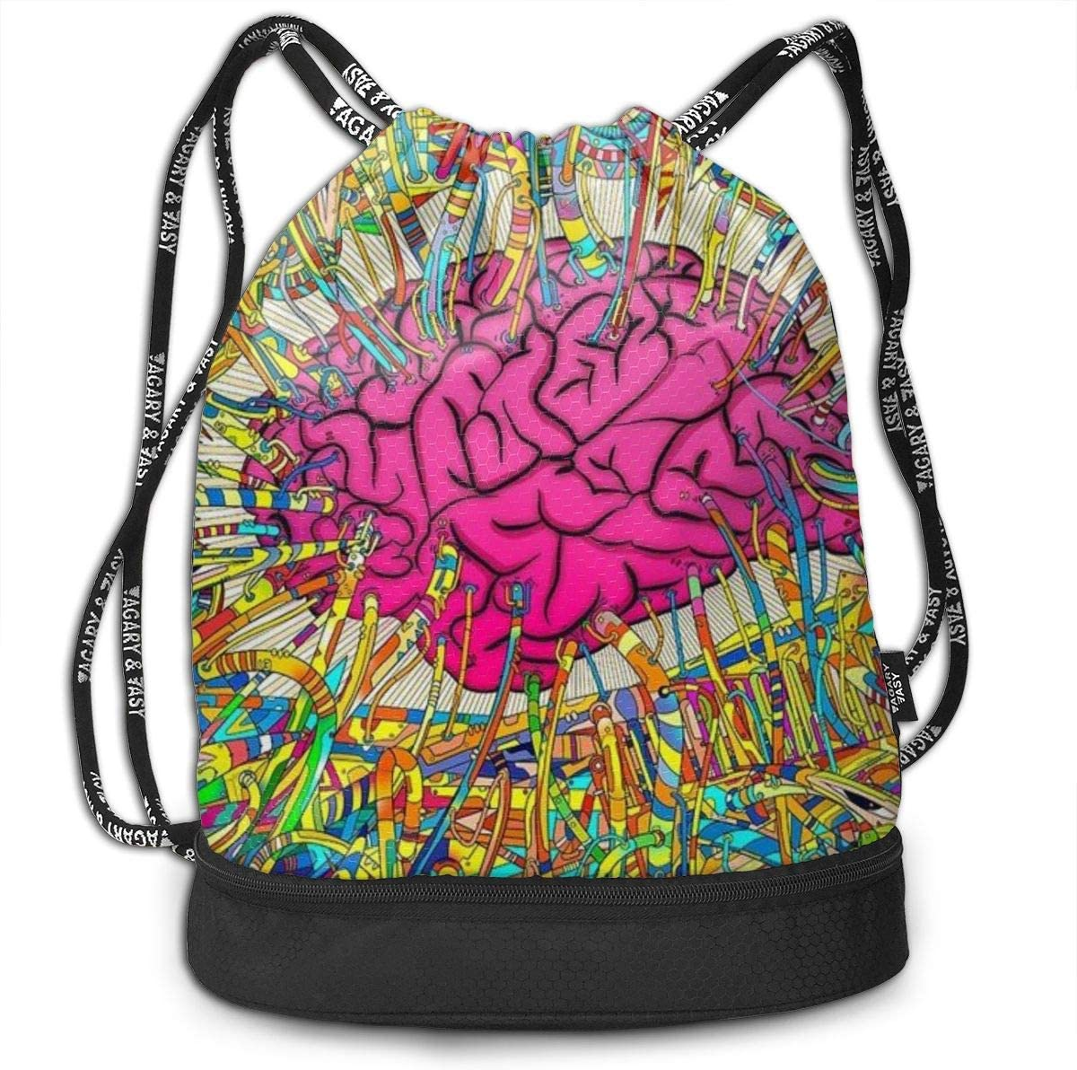 GymSack Drawstring Bag Sackpack Colorful Brain World Sport Cinch Pack Simple Bundle Pocke Backpack For Men Women