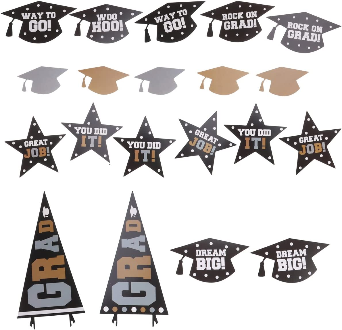 BESTOYARD Photo Booth Props Graduation Kit Glitter Doctorial Funny Images Pose Sign Cutout Kit Graduation Party Favor Supplies 30 Pieces