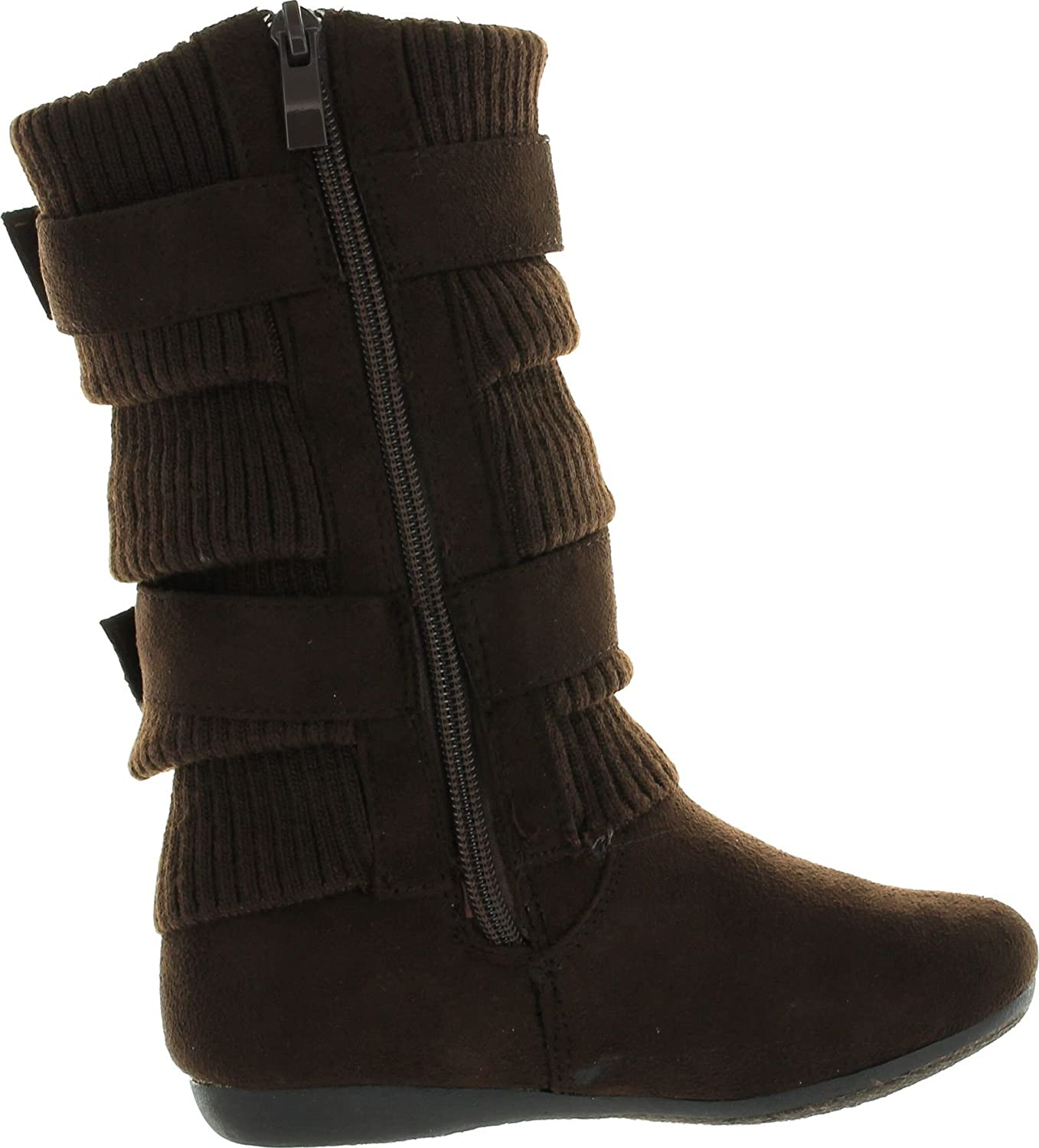 Lucky Top Girls Bank-21K Slouch Double Buckle Suede Boots with Zipper AM-163