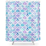 Society6 Mystical MERMAID DAYDREAMS Watercolor Scales Shower Curtain 71 By