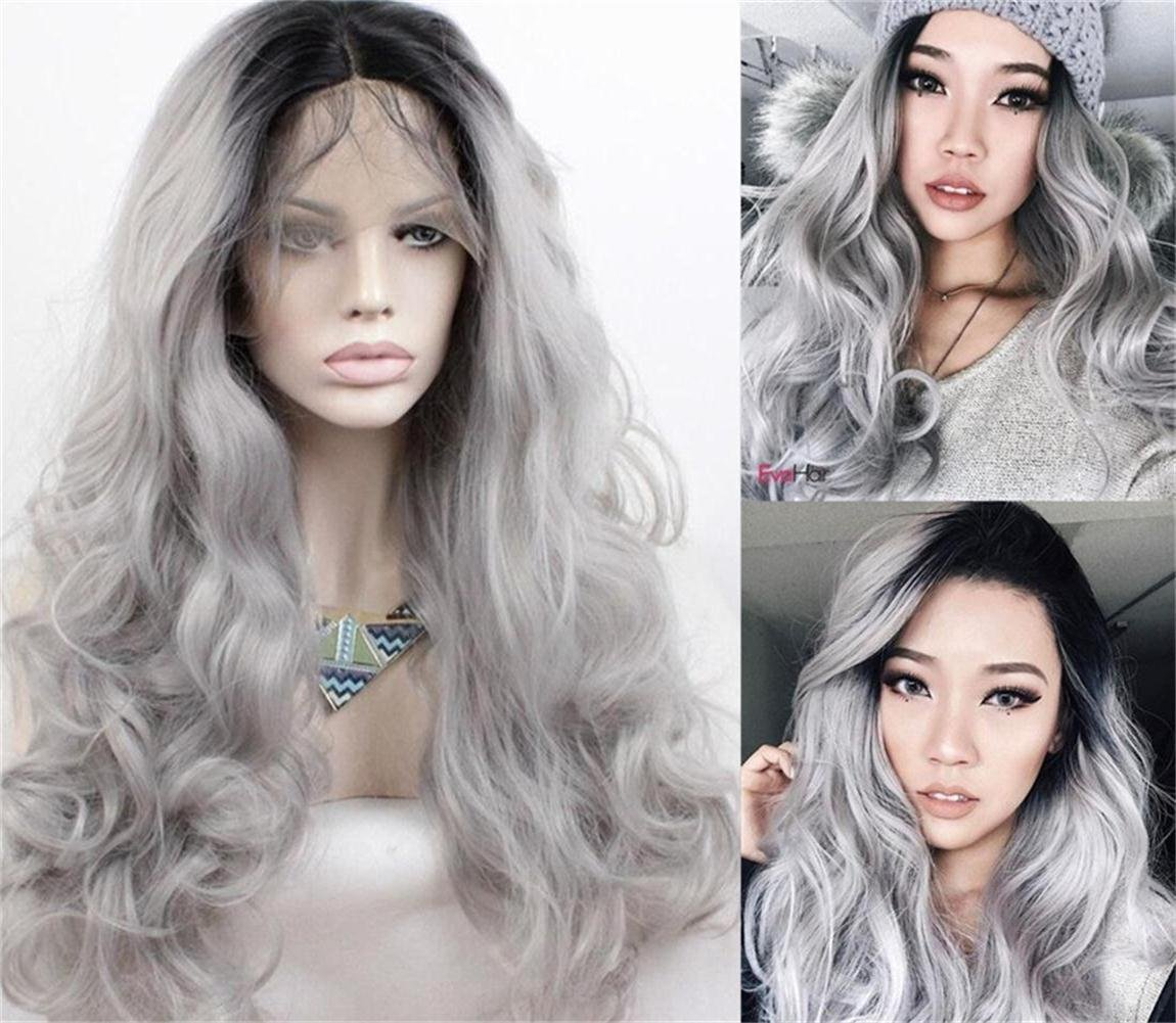 My Precious Long Wavy Synthetic Lace Front Wigs for Women Black to Silver Grey Ombre 2 Tones Long Wave Wig My Precious Hair