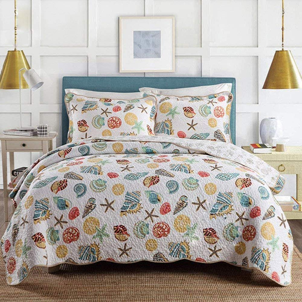 DOUH Coral Ocean Bedding Quilt Set Quilted Seashell Bedspread Beach Theme Patchwork Quilt Comforter Set 3 Pieces (1 Quilt,2 Matching Shams) Queen Size
