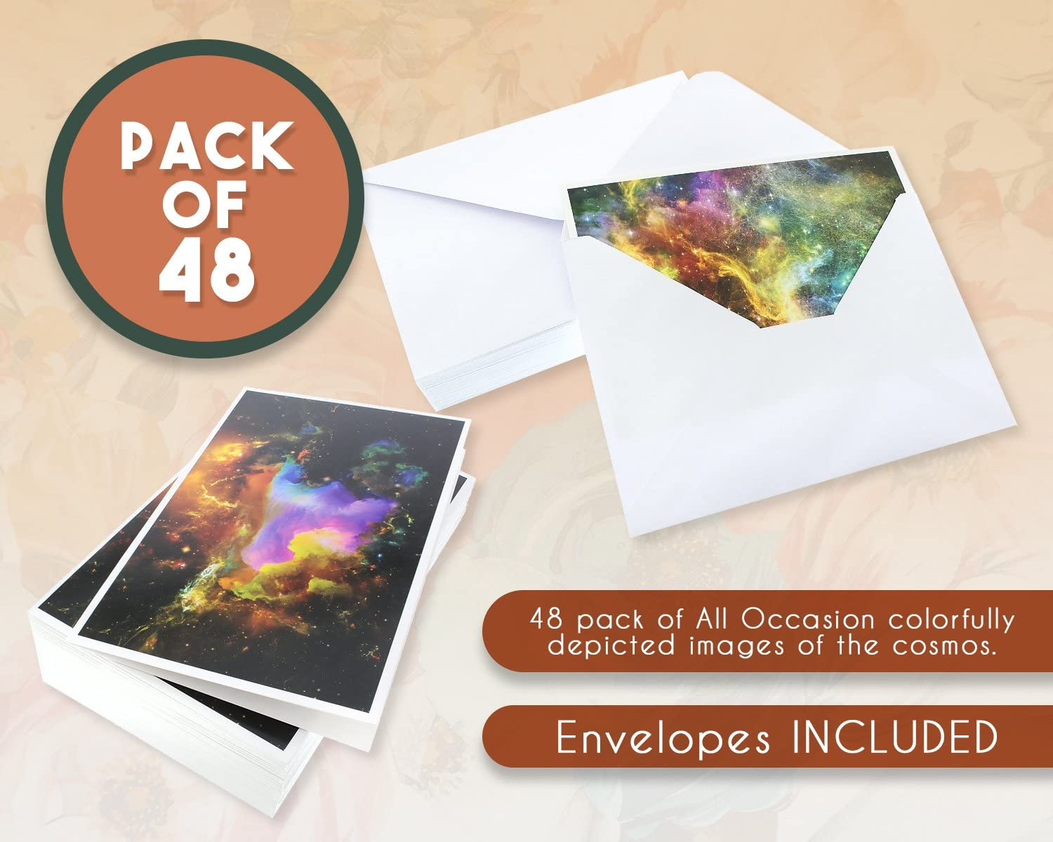 4 x 6 Inches Assorted Blank Note Cards Bulk Box Set Cosmic Designs 48 Pack All Occasion Greeting Cards Envelopes Included