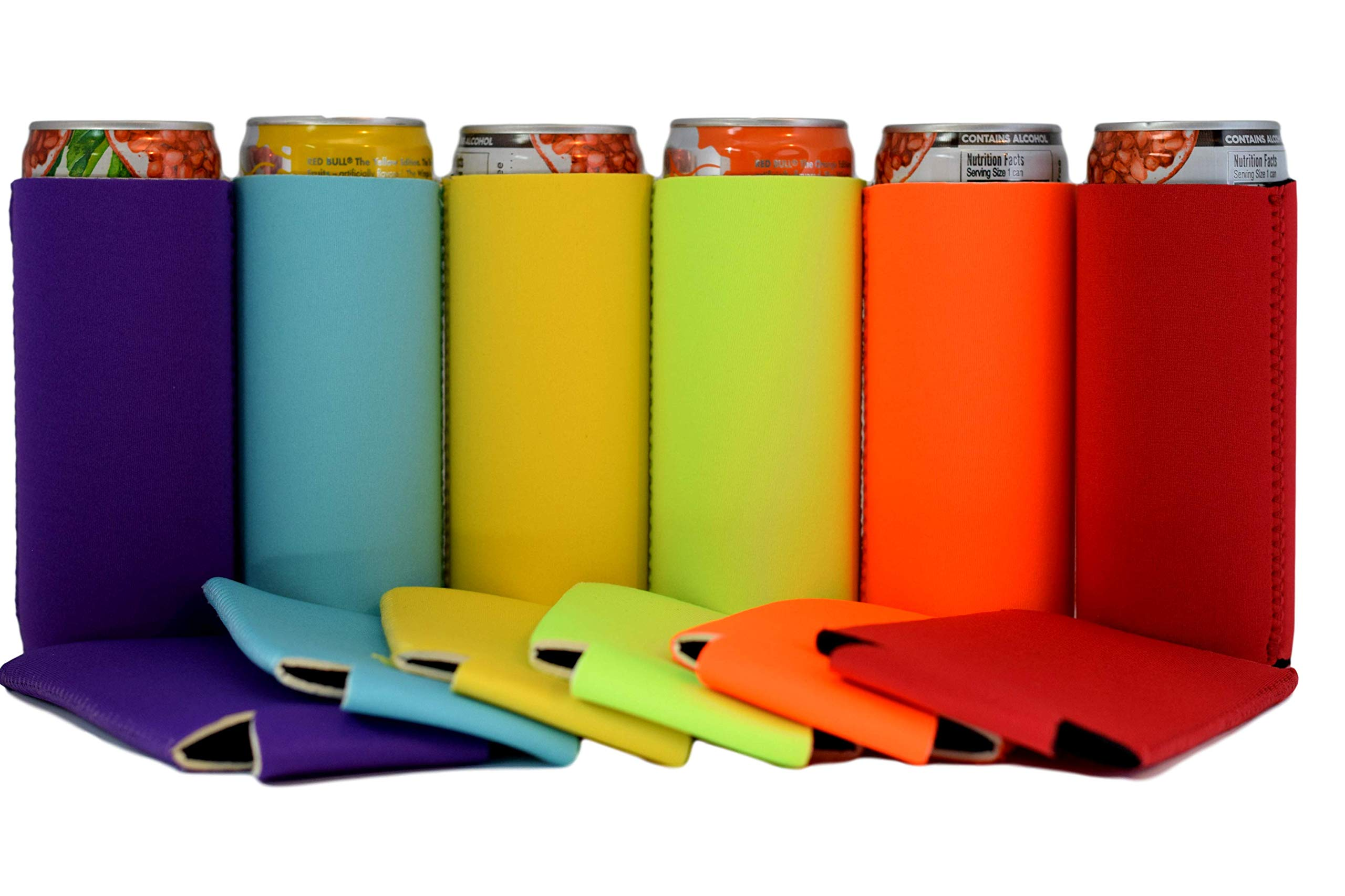 QualityPerfection 6 Assorted Ultra Slim Can Sleeves Premium Slim Beer Can,Energy Sleeves Great 4 Holidays,Events,Parties,Independence Day(6,Red,Purple,Neon Green,Neon Orange,Yellow,Turquoise)