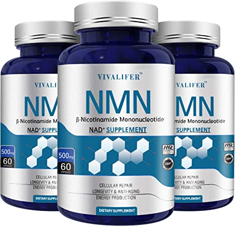 3 Pack NMN Supplement, 500MG Nicotinamide Mononucleotide Capsules for Supports Anti-Aging, Longevity and Energy, Naturally Boost NAD+ Levels (NMN 60PCS)