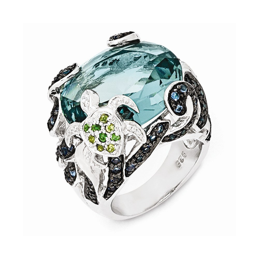 Top 10 Jewelry Gift Cheryl M Sterling Silver CZ & Glass Simulated Blue Topaz Turtle Ring