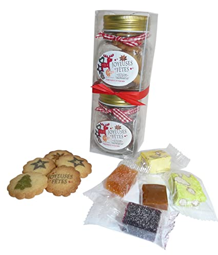Coffret 2 bonbonnières gourmandes Chocolate de Noel – 1 – Bombonera galletas y 1 – Bombonera